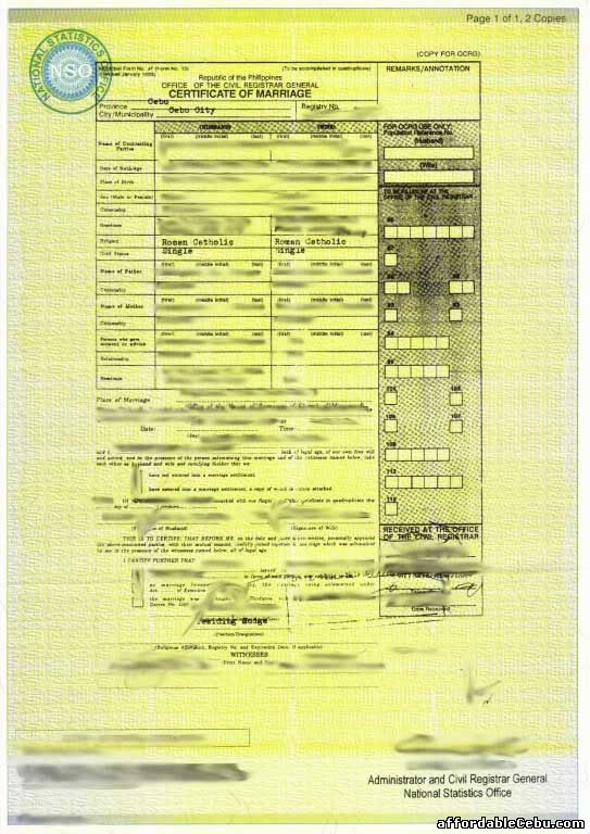Sample Of Marriage Certificate In The Philippines